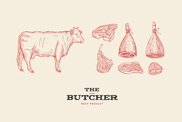 Set vintage hand-drawn different cuts of meats and cow. Engraving pictures for concept of farmers market and shop. Vector Illustration.