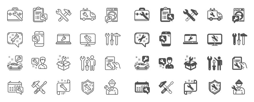 Repair car service line icons. Set of Hammer, Screwdriver and Spanner tool icons. Recovery, Washing machine repair, Car service. Engineer tool, Tech support. Spanner equipment, screwdriver. Vector