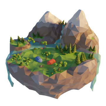 Campsite, a tent, bonfire near the river. Camping island low poly landscape with mountain. Summertime concept. 3d render illustration.