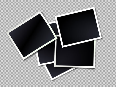 Photo frame. Realistic vector photo frames template on transparent background