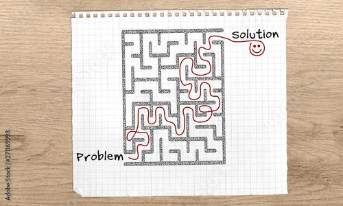 Problem Solving maze, Problem Solution text, maze solution hand