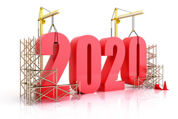 Year 2020 growth, building, improvement in business or in general concept in the year 2020, 3d rendering on a white background Wall mural