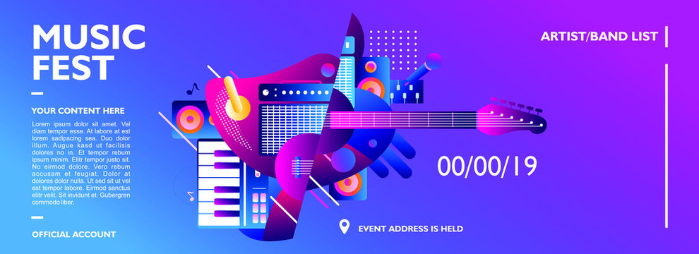 Music festival banner design template for event, party and concert. With colorful music instrument shape on gradient color