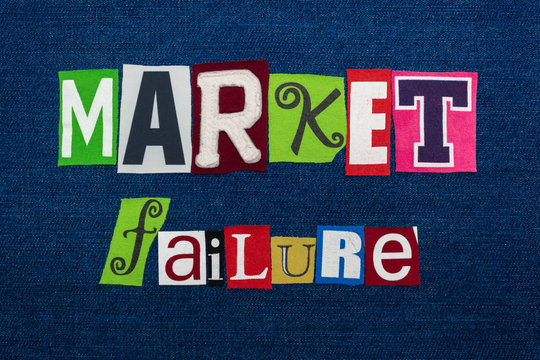 MARKET FAILURE text word collage, multi colored fabric on blue denim, unequal supply and demand concept, horizontal aspect