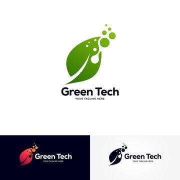 green tech logo designs template, creative technology logo symbol