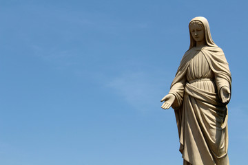 A closeup of statue of Mary at Trappist Monastery in Japan