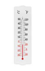 Atmosphere thermometer isolated on white background. Ambient temperature minus 5 degrees celsius