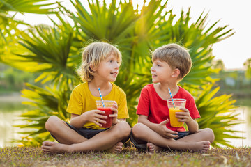 Two boys drink healthy smoothies against the backdrop of palm trees. Mango and watermelon smoothies. Healthy nutrition and vitamins for children