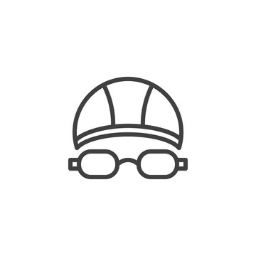 Swimming hat and glasses line icon. linear style sign for mobile concept and web design. Goggles and swimming cap outline vector icon. Symbol, logo illustration. Vector graphics