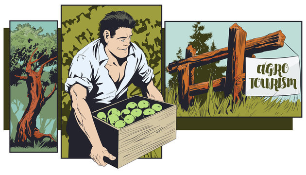 Agrotourism. Ecotourism. Man on vacation in village. Nature recreation. Stock illustration.