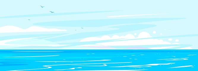 Ocean waves nature background illustration, sea waves in calm sunny weather with splashes and foam, panorama of open deep sea ocean with flying birds on sky Fototapete