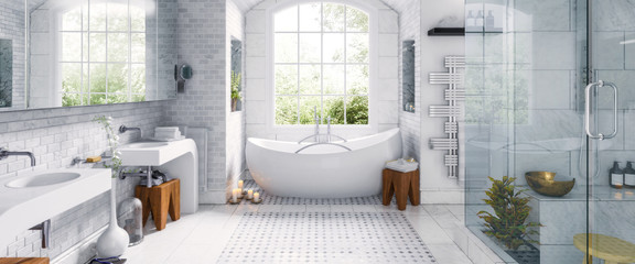 Renovation of an old building bathroom in a panoramic view - 3d visualization Fotomurales