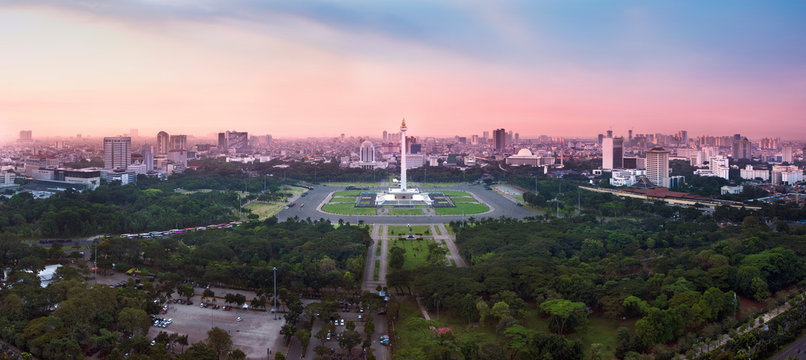 Panoramic Jakarta skyline with iconic symbol likes National Monument (Monas) in the afternoon