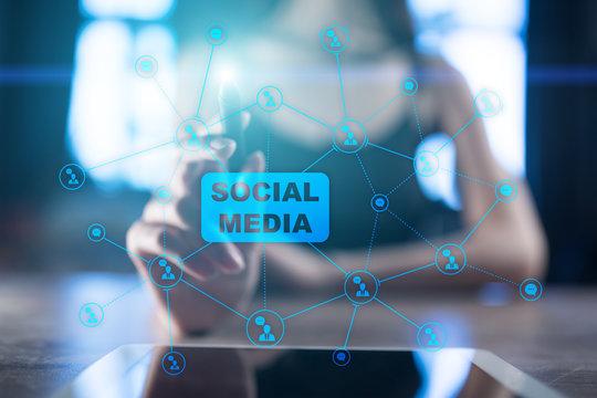 Social media concept on virtual screen. Global Communication network.