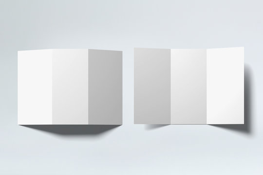 Blank white tri folded booklets mock ups set, opened top view. Plain trifold brochures mock ups set isolated.