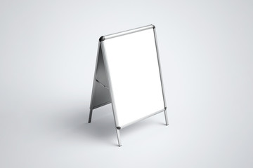 Blank white metallic outdoor A stand mock up.
