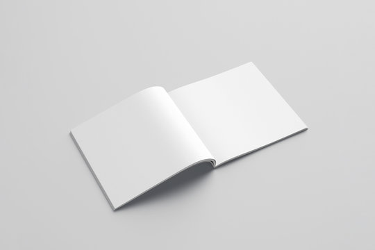 Blank photorealistic brochure mockup on light grey background, 3d rendering.