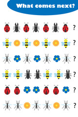 What comes next with insects pictures for children, fun education game for kids, preschool worksheet activity, task for the development of logical thinking, vector illustration