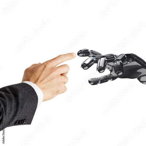 Human hand touching robotic hand  3d rendering