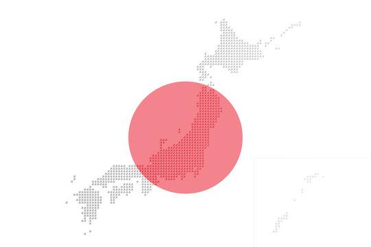 Japanese flag and Japan map composed of three-dimensional dots.  日本国旗と立体的なドットで構成された日本地図