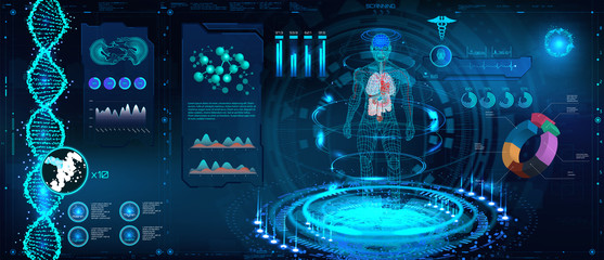 Medical Infographic HUD. Human body and organism scannig ( Anatomy, Dna formula, X-ray,  Molecule and Electrocardiogram) Modern healthcare examination HUD. Sci, fi, fui Vector infographic elements