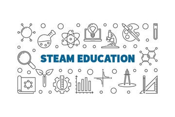 STEAM Education concept outline horizontal banner on white background. Vector illustration