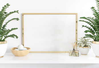 Golden frame leaning on white shelve in interior with plants and decorations mockup 3D rendering