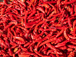 Red Chili Spicy cooking Food ingredient top view texture background
