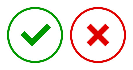 Set of round check & X mark line icons, buttons. Flat tick & cross symbols on white background.