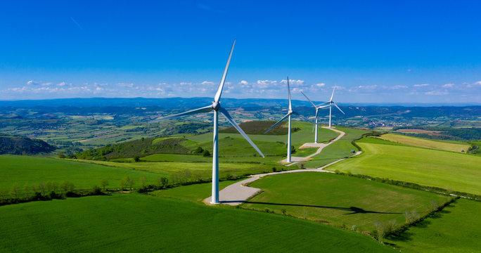 wind turbine, renewable energy- aerial view
