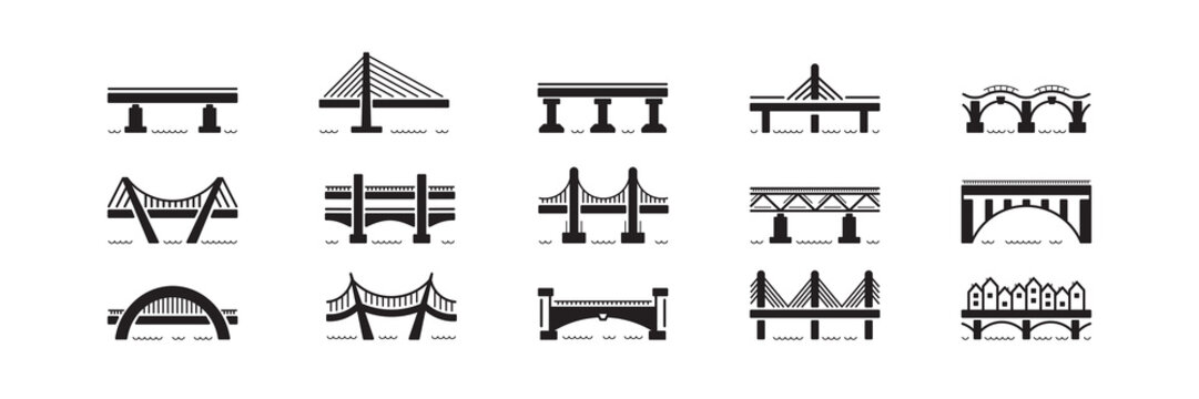 bridge flat icon set vector isolated on white background