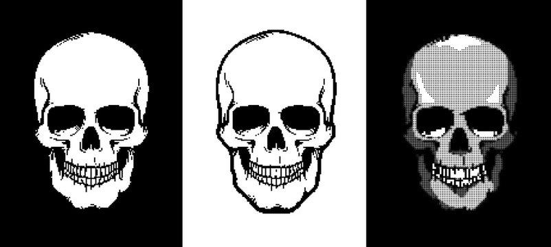 Pixel art style skull icon. Vector illustartion.