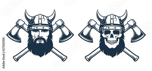 Viking Emblem Tattoo Bearded Warrior In A Horned Helmet And