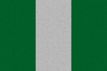 Nigeria flag painted on paper