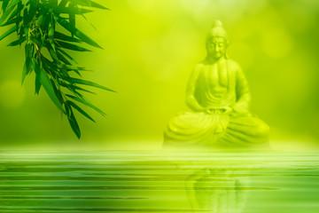 bambus, wasser, unscharfer buddha