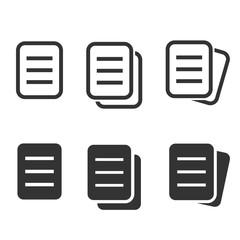 Document icon set. Illustrations isolated on white.