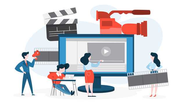 Video production concept. Idea of shooting movie