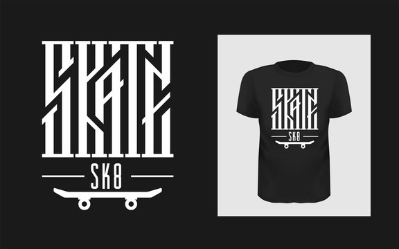 Skate board vector illustrations with cool logo for t-shirt