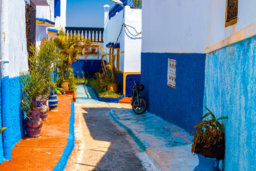 Blue and White Street in the Kasbah des Oudaias in Rabat Morocco