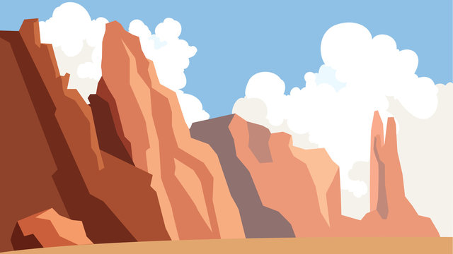 Landscape with cliff. Outdoor mountain scene. Blue sky