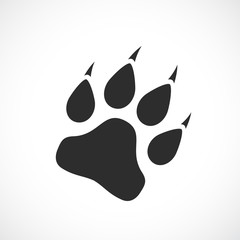 Paw silhouette vector icon