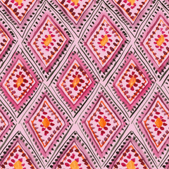 Traditional moroccan rhombic ornament in pink and purple. Seamless watercolor pattern
