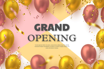 Grand opening ceremony vector banner. Realistic glossy balloons and confetti with 3d text. Opening template. Fototapete