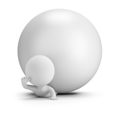 3d small people - pinned by a ball