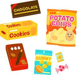 市販の菓子のイラストセット