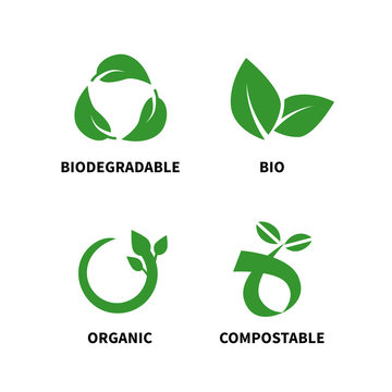 Biodegradable and compostable concept reduce reuse recycle vector illustration