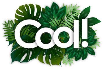 cool word and green tropical's leaves background