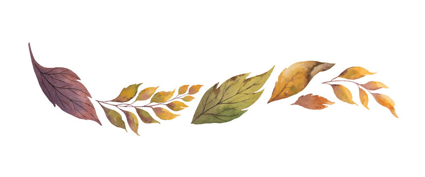 Watercolor vector wreath with autumn leaves isolated on white background.