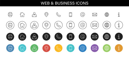 Set of Business Card icons. Name, phone, mobile, location, place, mail, fax, web. Contact us, information, communication. Vector illustration.
