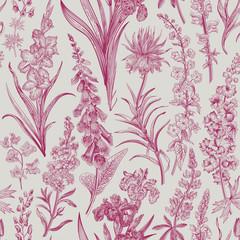 Obraz Lovely Garden. Vintage seamless pattern. Spring and summer garden flowers. Wine and white. Toile de Jouy. - fototapety do salonu
